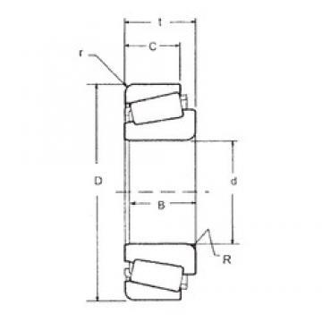 23,812 mm x 50,292 mm x 14,732 mm  FBJ L44640/L44610 Rolamentos de rolos gravados