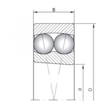 95 mm x 170 mm x 43 mm  ISO 2219K Rolamentos de esferas auto-alinhados