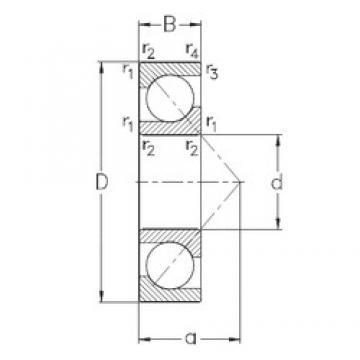 45 mm x 100 mm x 25 mm  NKE 7309-BE-MP Rolamentos de esferas de contacto angular